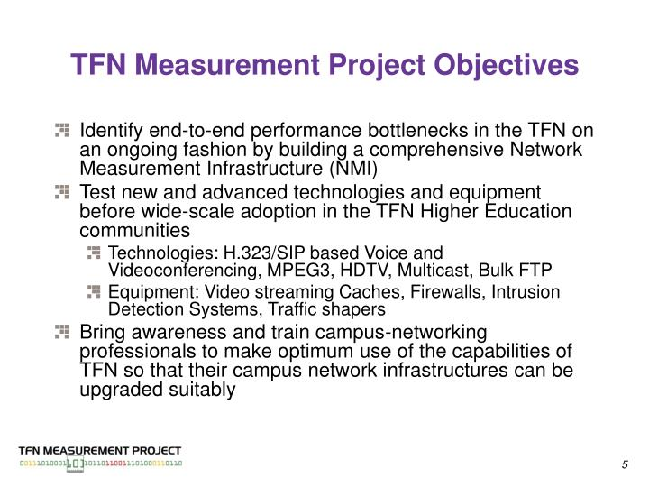 TFN Measurement Project Objectives