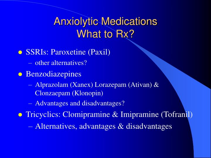 Anxiolytic Medications