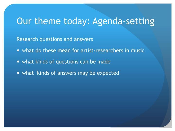 Our theme today: Agenda-setting