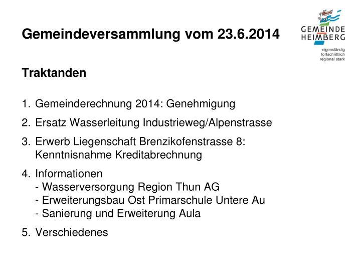Gemeindeversammlung vom 23.6.2014