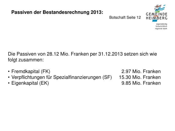Passiven der Bestandesrechnung 2013: