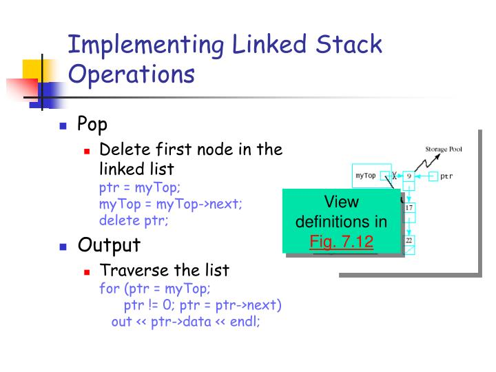 Implementing Linked Stack Operations
