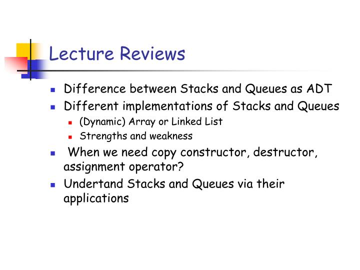 Lecture Reviews
