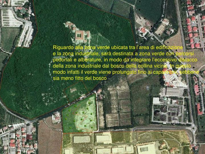 Riguardo alla zona verde ubicata tra l'area di edificazione