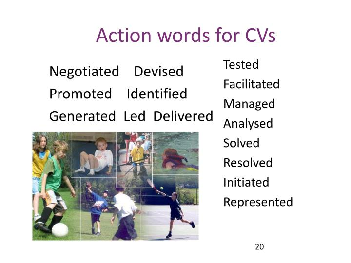 Action words for CVs