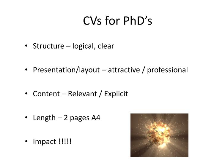 CVs for PhD's