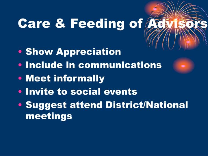 Care & Feeding of Advisors