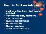 how to find an advisor