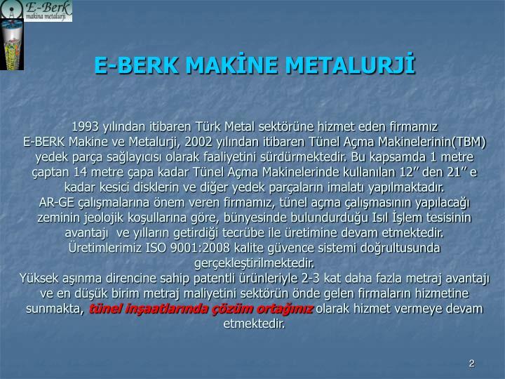 E-BERK MAKİNE METALURJİ