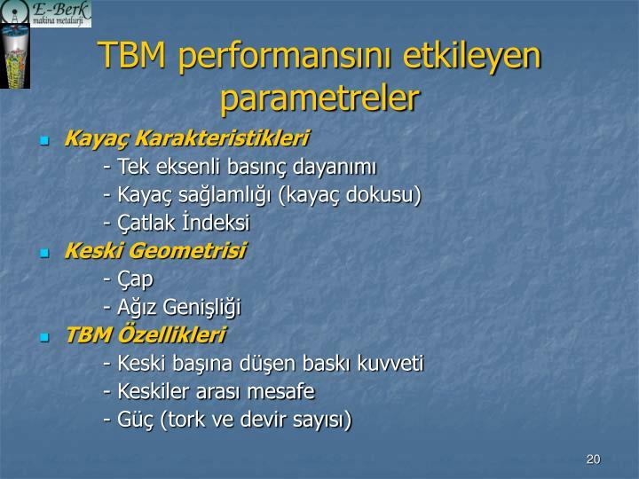 TBM performansını etkileyen parametreler