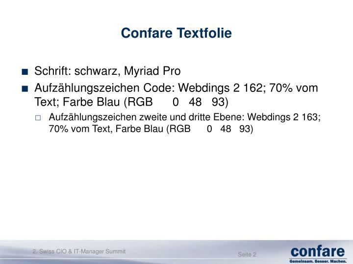 Confare Textfolie