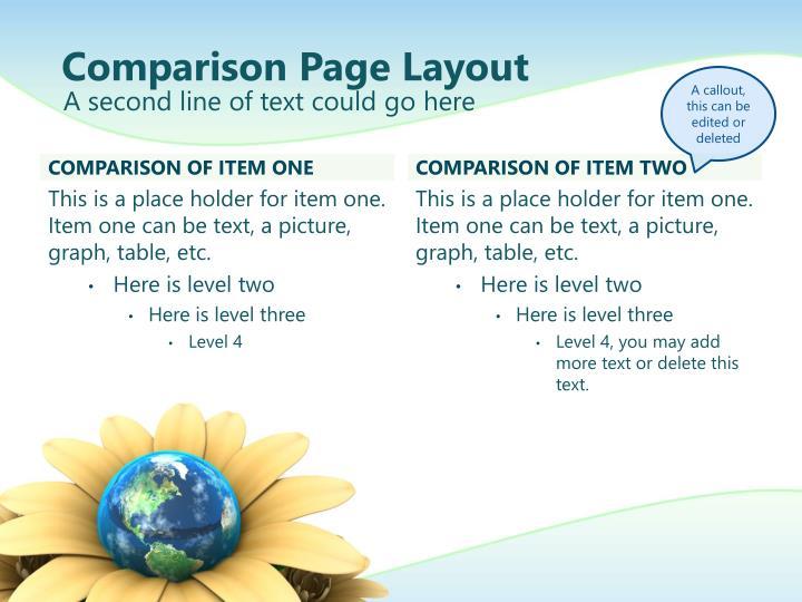 Comparison Page Layout