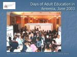 days of adult education in armenia june 2003