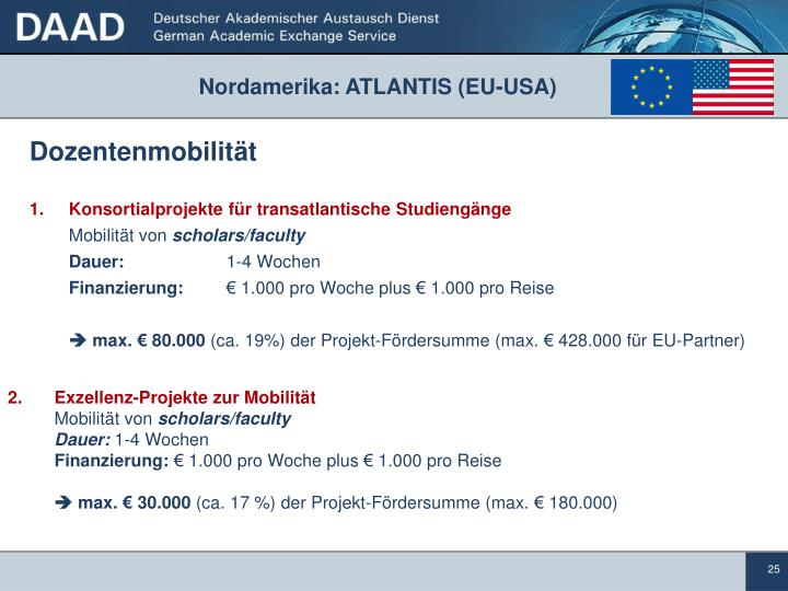 Nordamerika: ATLANTIS (EU-USA)