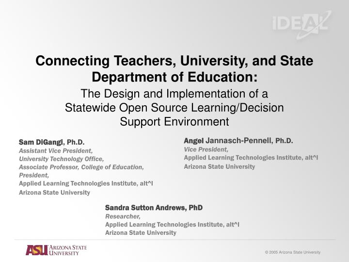 Connecting teachers university and state department of education1