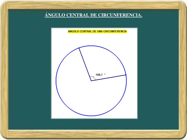 ÁNGULO CENTRAL DE CIRCUNFERENCIA.