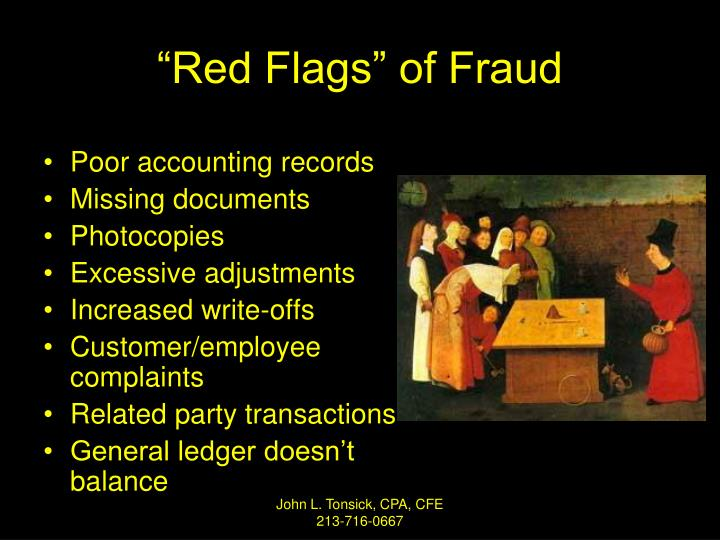 """""""Red Flags"""" of Fraud"""