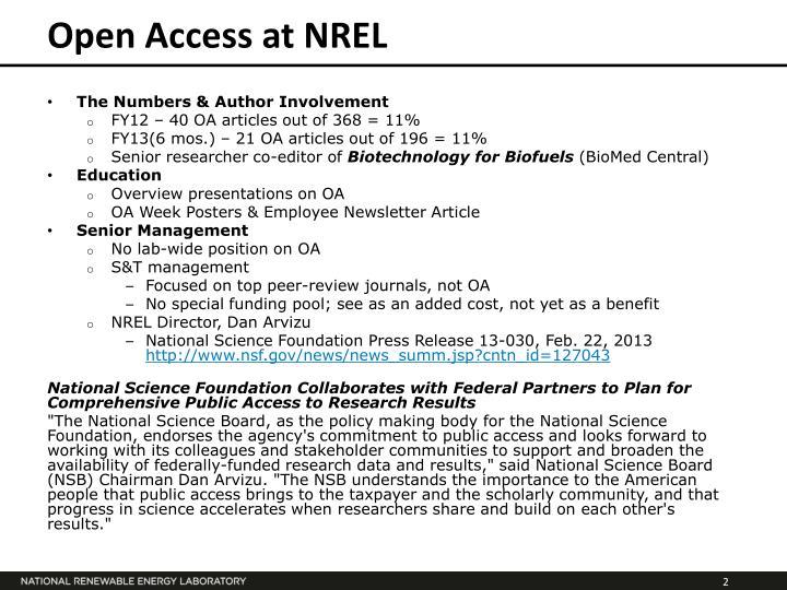 Open Access at NREL