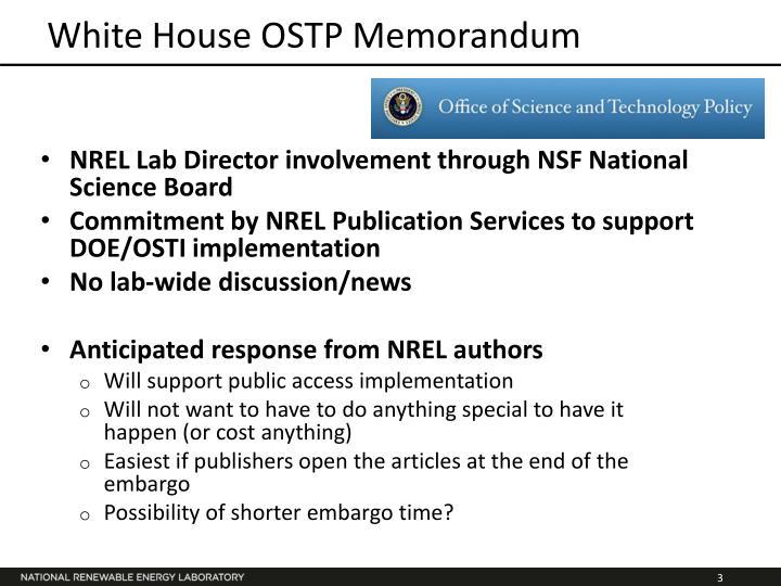 White House OSTP Memorandum