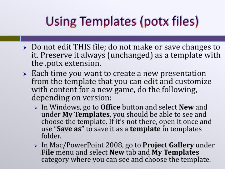 Using templates potx files
