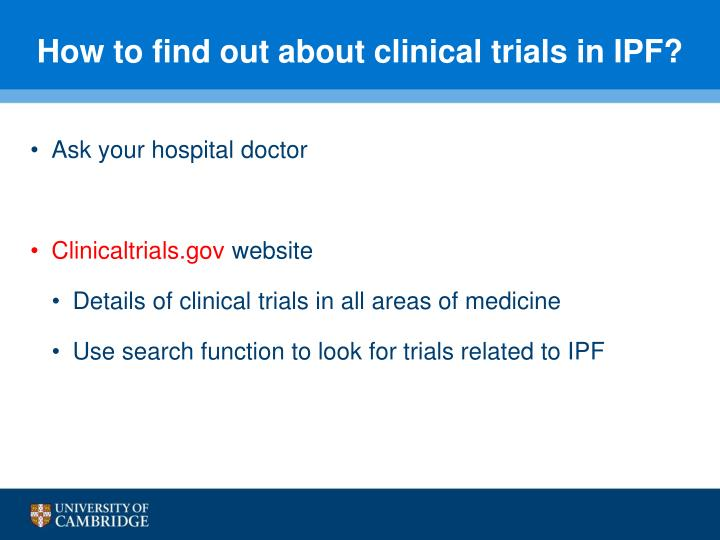 How to find out about clinical trials in IPF?