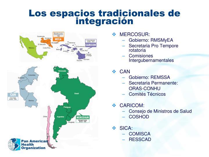 Los espacios tradicionales de integración