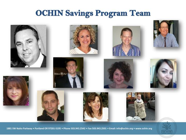 OCHIN Savings Program Team