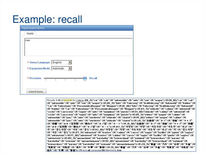 Example: recall