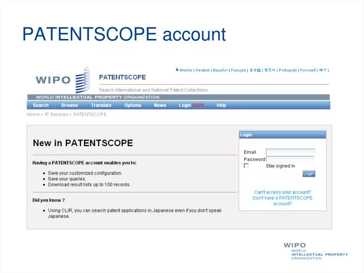 PATENTSCOPE account