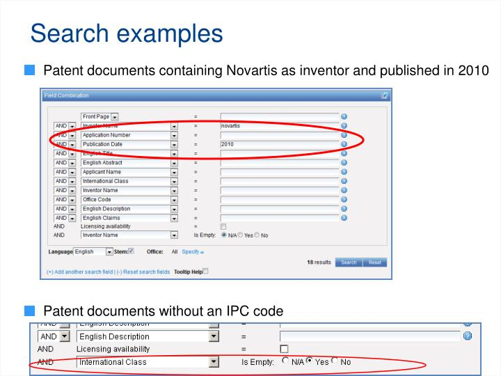 Search examples
