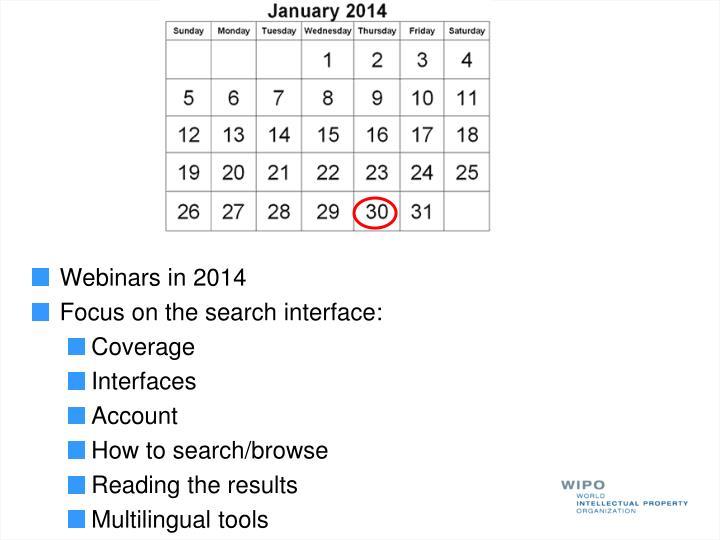 Webinars in 2014