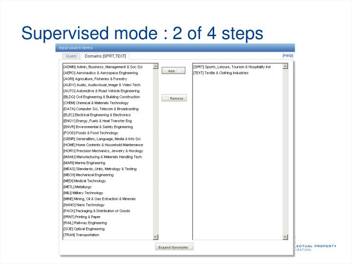 Supervised mode : 2 of 4 steps