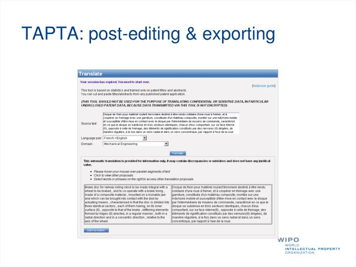 TAPTA: post-editing & exporting