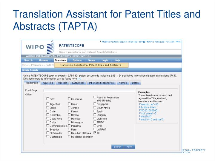 Translation Assistant for Patent Titles and Abstracts (TAPTA)