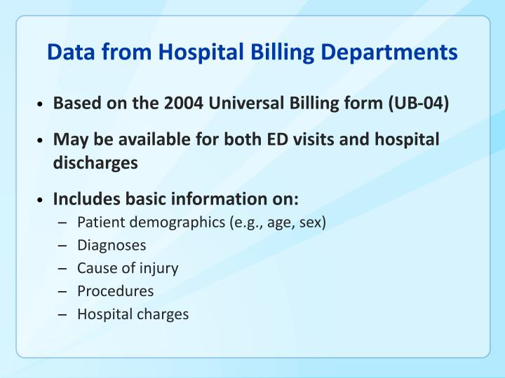 Data from Hospital Billing Departments