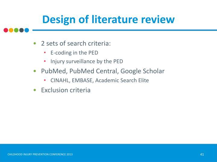 Design of literature review