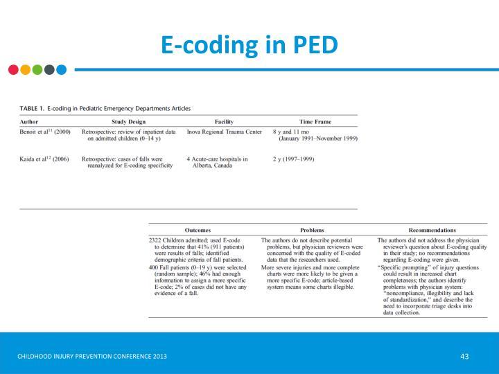E-coding in PED