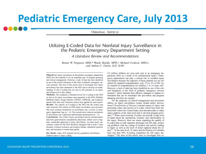 Pediatric Emergency Care, July 2013