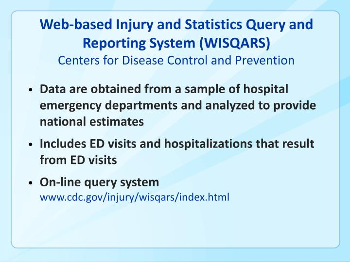 Web-based Injury and Statistics Query and Reporting System (WISQARS)