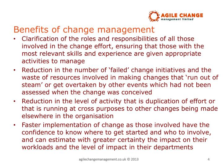Benefits of change management