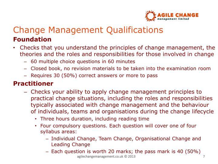 Change Management Qualifications