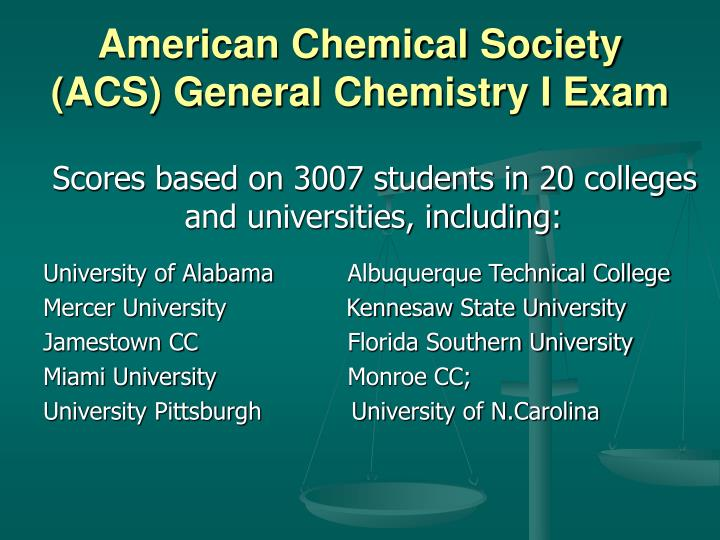 American Chemical Society (ACS) General Chemistry I Exam