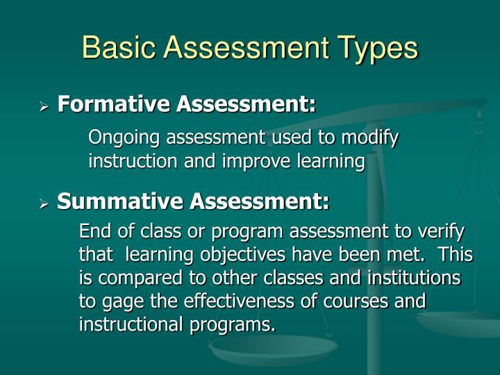 Basic Assessment Types