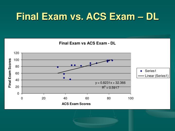 Final Exam vs. ACS Exam – DL