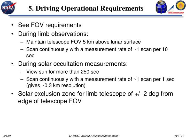 5. Driving Operational Requirements