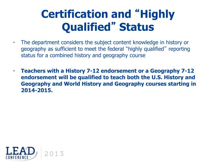 Certification and