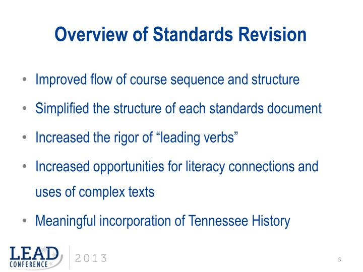 Overview of Standards Revision