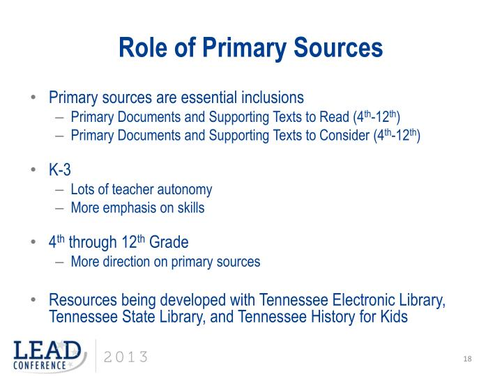 Role of Primary Sources