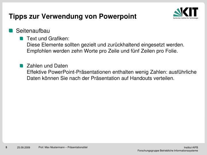 Tipps zur Verwendung von Powerpoint