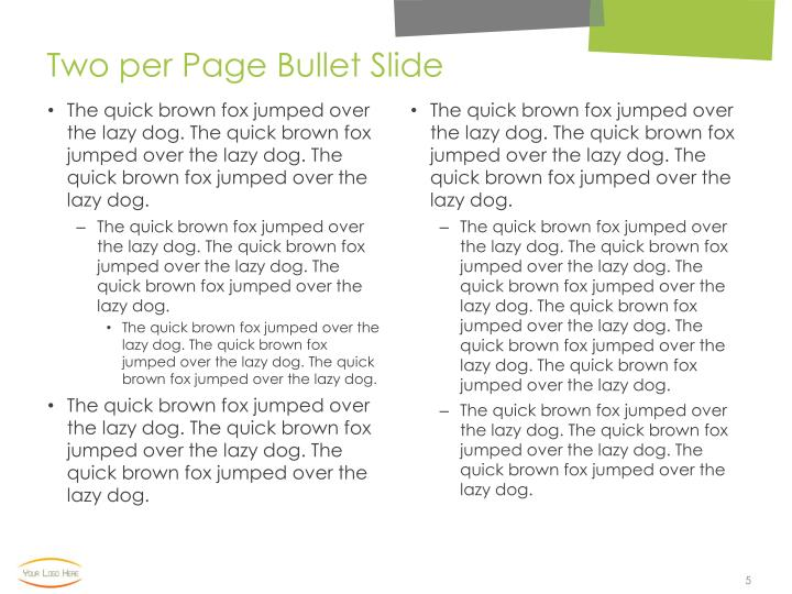 Two per Page Bullet Slide